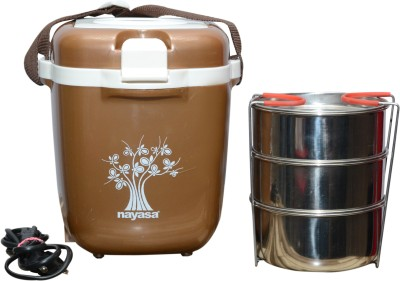 NAYASA Electric Tiffin 3 3 Containers Lunch Box 500 ml NAYASA Lunch Boxes