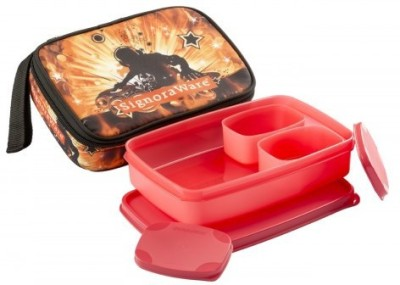 Signoraware Rock DJ Compact   Red  1050ml  3 Containers Lunch Box