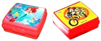 Tupperware Little Mermaid and Mickey n Goofy Sandwich keeper 2 Containers Lunch Box 250 ml Tupperware Lunch Boxes