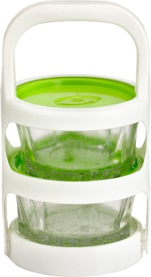 Richcraft Somil White & Green Easy Carry Glass & Plastic Picnic Tiffin 2 Containers Lunch Box(400 ml)