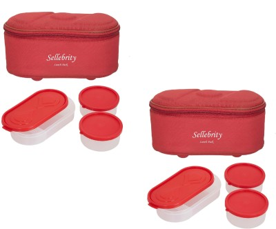 Sellebrity Combo Browny Red 6 Containers Lunch Box(1300 ml) at flipkart