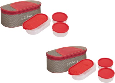 Sellebrity Best Combo Set Solace Red Brown 6 Containers Lunch Box