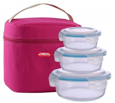 Jindal Microwavable Container Set of 3 With Plastic Lid 3 Containers Lunch Box(2000 ml) at flipkart