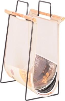 MD Design Floor Standing Magazine Holder(White, Iron, Wooden, Nylon)