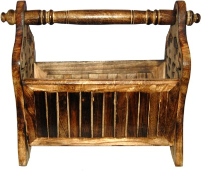 Acme Production Table Top Magazine Holder(Brown, Wooden) at flipkart