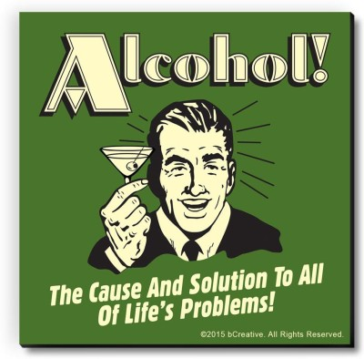 bCreative Alcohol The Cause And Solution Of All Life's Problems Fridge Magnet, Door Magnet Pack of 1 Multicolor bCreative Magnets
