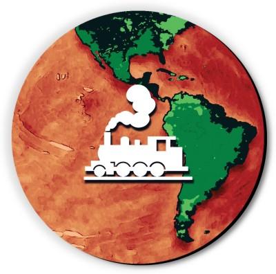 Seven Rays Train Around the Globe Fridge Magnet Pack of 1 Multicolor