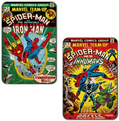 Marvel Spiderman  Iron man  Officially Licensed  Fridge Magnet Pack of 2 Multicolor