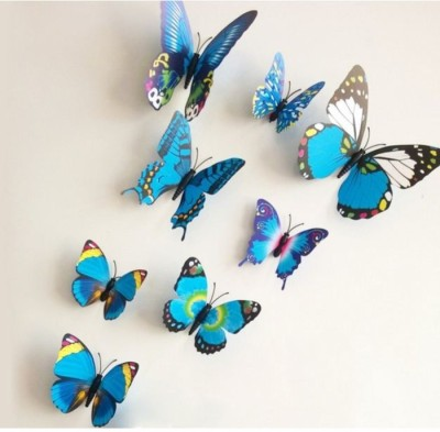 Onlineshoppee Decorative 3D Creative Magnetic Butterfly Fridge Magnet(Pack of 8, Blue) at flipkart