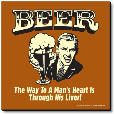 bCreative Beer The Way To Man's Heart Is Through His Liver! Fridge Magnet, Door Magnet Pack of 1