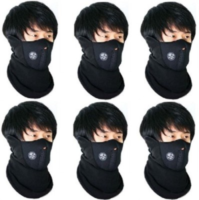 Elite Mkt 6 Pieces Face Nose Ear Neck Ski Snowboard Bike Motorcycle Riders Warm Dust Free Breathable Anti-pollution Mask(Black, Pack of 6)
