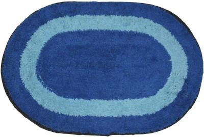 Brabuon Cotton Anti-slip/Anti-grease Mat Elegant Blue Oval shape Bathmat (Length 60 cm and Breadth 40 cm)(Blue, Free) at flipkart
