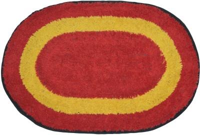 Brabuon Cotton Anti-slip/Anti-grease Mat Elegant Red Oval shape Bathmat (Length 60 cm and Breadth 40 cm)(Red, Free) at flipkart