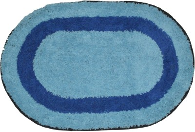 Brabuon Cotton Anti-slip/Anti-grease Mat Elegant Sky Blue Oval shape Bathmat (Length 60 cm and Breadth 40 cm)(Light Blue, Free) at flipkart