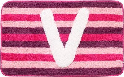 Saral Home Polyester Floor Mat Supersoft Micro Polyester Initialized Bathmat Ideal As A Return Gifts(Pink, Medium)