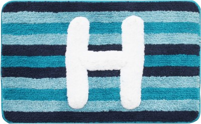 Saral Home Polyester Floor Mat Supersoft Micro Polyester Initialized Bathmat Ideal As A Return Gifts(Blue, Medium)