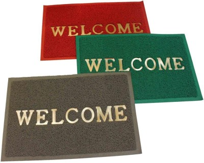 Home And Craft Plastic Door Mat(Maroon, Green, Grey, Medium) at flipkart