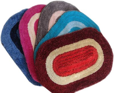 Luk Luck Home Cotton Door Mat Luk Luck Oval Door Mat Set Of 5(Multicolor, Small) at flipkart