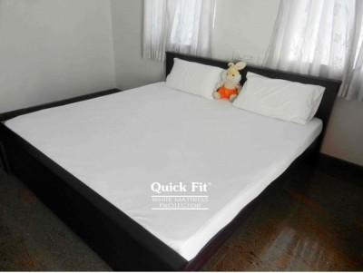 Quick Fit Fitted King Size Waterproof Mattress Protector(White) at flipkart