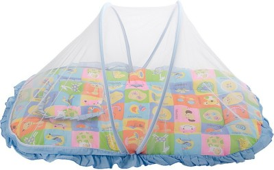 MeeMee Printed Mattress Set With Mosquito Net & Pillow(Blue) at flipkart