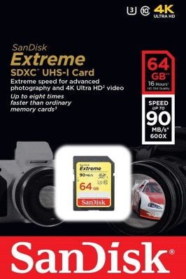 Sandisk-Extreme-64GB-SDXC-U3-(90mb/s)-Class-10-Memory-Card
