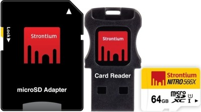 Strontium-Nitro-566x-64GB-MicroSDXC-Class-10-(85MB/s)-MemoryCard-(With-Card-Reader-&-Adapter)