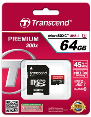 Transcend-Premium-300X-64GB-MicroSDHC-Class-10-Memory-Card-(With-Adapter)
