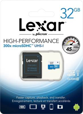 Lexar-300x-32GB-MicroSDHC-Class-10-(45MB/s)-UHS-1-Memory-Card-(With-Adapter)