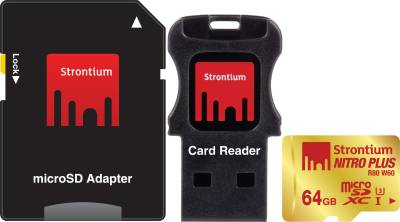 Strontium-Nitro-Plus-64GB-MicroSDXC-UHS-1/U3-Memory-Card-(With-Card-Reader-&-Adapter)