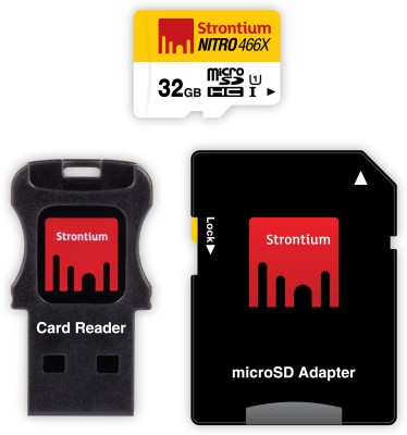 Strontium-Nitro-466X-32GB-MicroSDHC-Class-10-(70MB/s)-Memory-Card-(WIth-Card-Reader-&-Adapter)