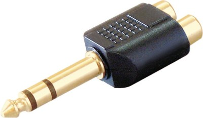 MX TRS Stereo Jack 6.3mm to Composite Audio 2 RCA Adaptor(Gold, Black)