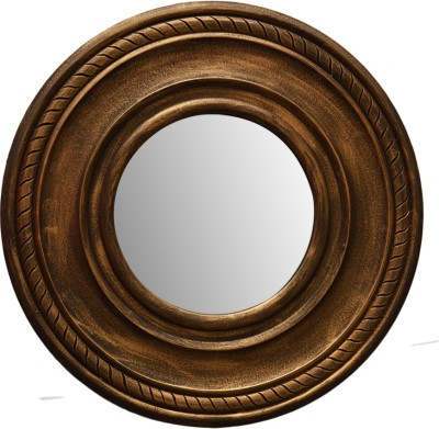 Hallmarc Mdf Designer Brown Mirror (Round) - 24x24 Bathroom Mirror(Round) at flipkart