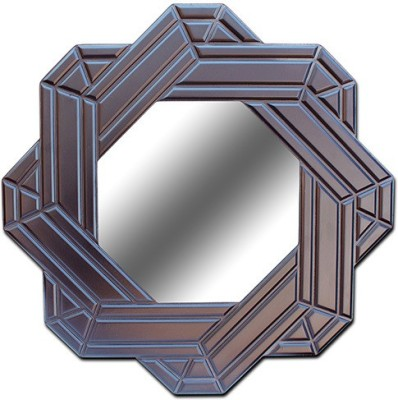 Crazycut CCMI1006 Decorative Mirror(Eight Cornered Octagon Finish : Dark Brown Glossy Paint, P U Finish, Auto Finish) at flipkart