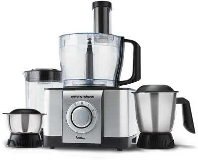 Morphy Richards Icon DLX Food Processor 1000 W Juicer Mixer Grinder(Steel Black, 4 Jars)
