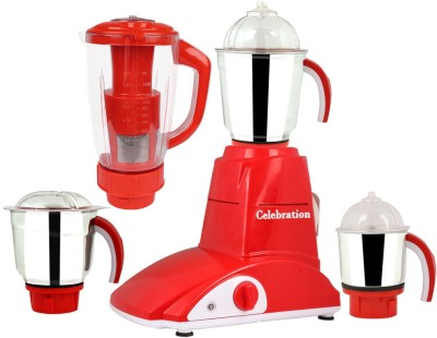 Celebration MG16-682 750 W Juicer Mixer Grinder(Red, 4 Jars)