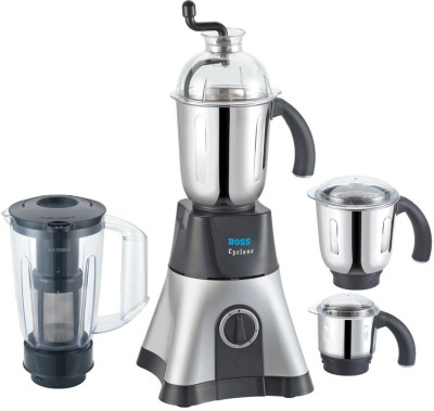 Boss Cyclone 750 W Juicer Mixer Grinder(Black,Silver, 4 Jars) at flipkart