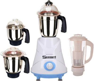 Sunmeet Combo Pack of 4 Jars with 1 White Blender With Attachment free SM-173 750 W Mixer Grinder(Black, 4 Jars)