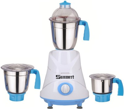 Sunmeet Combo Pack of 3 Jars with 1 White Blender Without Attachment free SM-219 1000 W Mixer Grinder(Blue, 3 Jars)