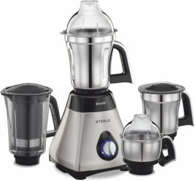 Preethi Steel MG208 750 W Juicer Mixer Grinder(Metallic, Black, 4 Jars)