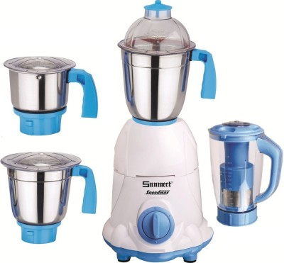 Sunmeet Combo Pack of 4 Jars with 1 Blue Blender With Attachment free SM-242 1000 W Mixer Grinder(White, 4 Jars)