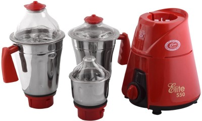 JSM Elite 550 W Mixer Grinder(Red, 3 Jars)