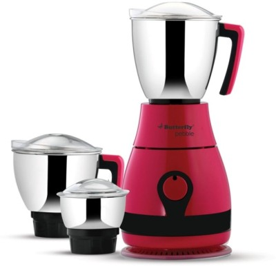 Butterfly Pabble candy P 600 W Mixer Grinder(Candy Pink, 3 Jars)