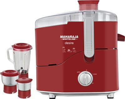 Maharaja Whiteline Desire (JX-210) 550 W Juicer Mixer Grinder(Red, 3 Jars)  available at flipkart for Rs.2599