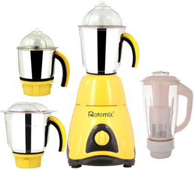 Rotomix Combo Pack of 4 Jars with 1 White Blender With Attachment free RT-161 750 W Mixer Grinder(Yellow, 4 Jars)