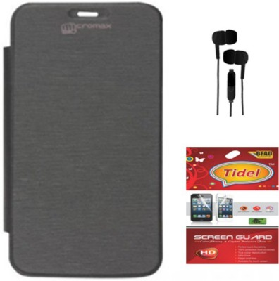 Tidel Flip Cover For Micromax Unite A092 With 3.5mm Stereo Earphones&Screen Guard Accessory Combo(Black)