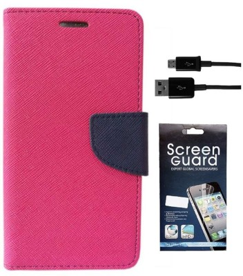 Coverage Cover Accessory Combo for Mercury CoolPad Dazen Note 3, CoolPad Note 3(Pink, Blue)