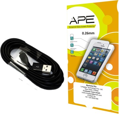 Ape Tempered Screen Guard and Data Cable for Samsung Galaxy Grand Prime G 530 Accessory Combo(Transparent, Black)