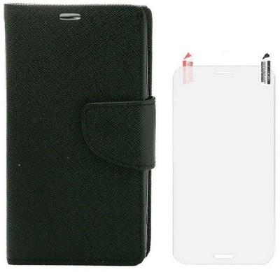 YGS Diary Wallet Flip for HTC Desire 820 Black With Screen Guard Accessory Combo(Black)