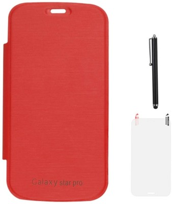 DMG Protective Flip Cover Back Replace Leather Case for Samsung Galaxy Star Pro S7262, Matte Screen Guard, Stylus Accessory Combo(Red)