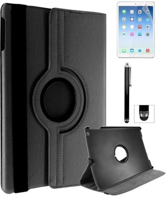 DMG 360 Rotating Flip Cover for Apple iPad Air with Screen Guard and Stylus Accessory Combo(Black)